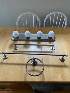 Vanity lights and towel bar set